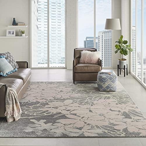 Nourison TRA08 Tranquil Floral Contemporary Grey Pink Area Rug 8 10 X 11 10 , 9 x 12