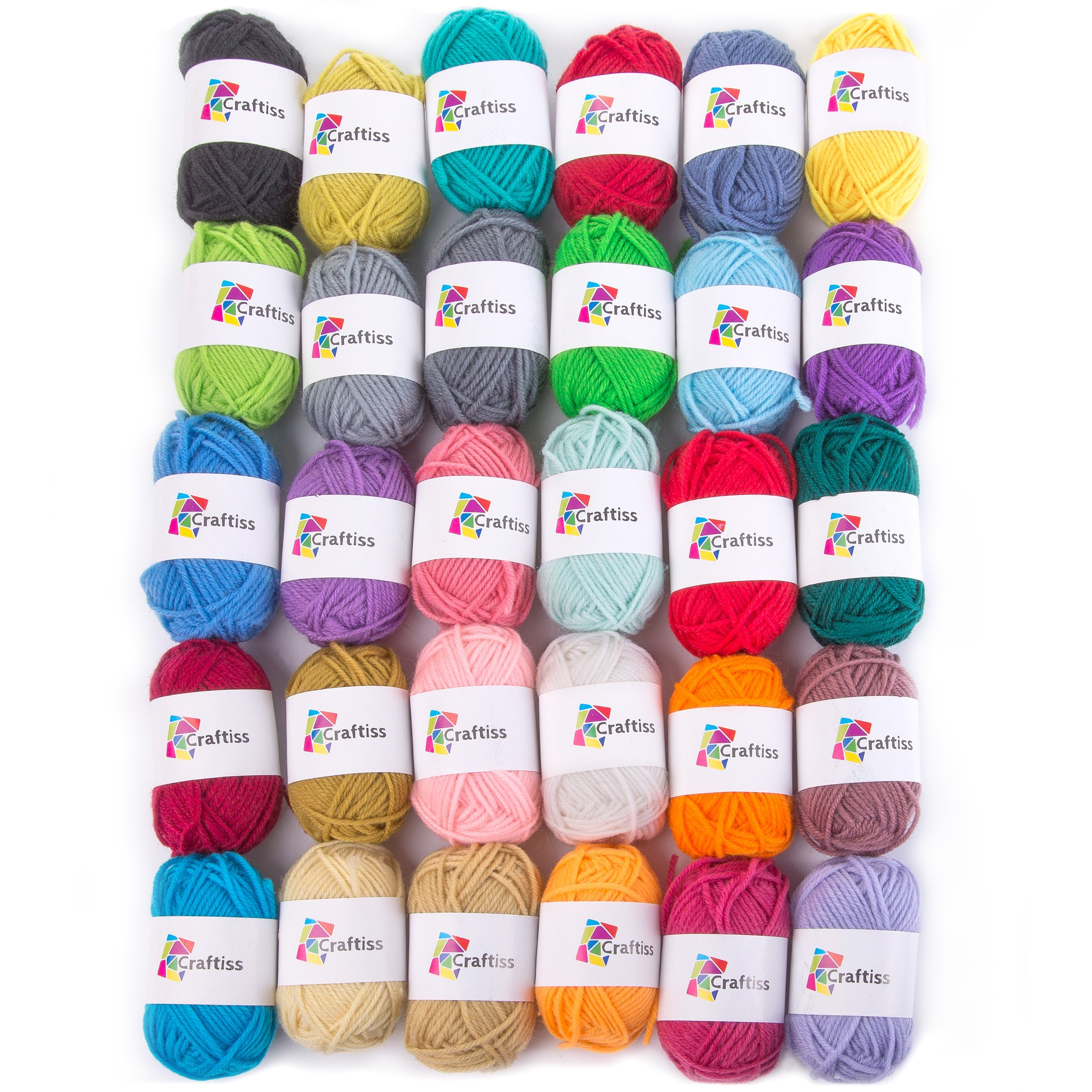 Craftiss 30 Unique Colors Acrylic Yarn Skeins ~ Bulk Yarn Kit ~ 1300 yards ~ Perfect for Any Knitting and Crochet Mini Project by Craftiss (Image #8)