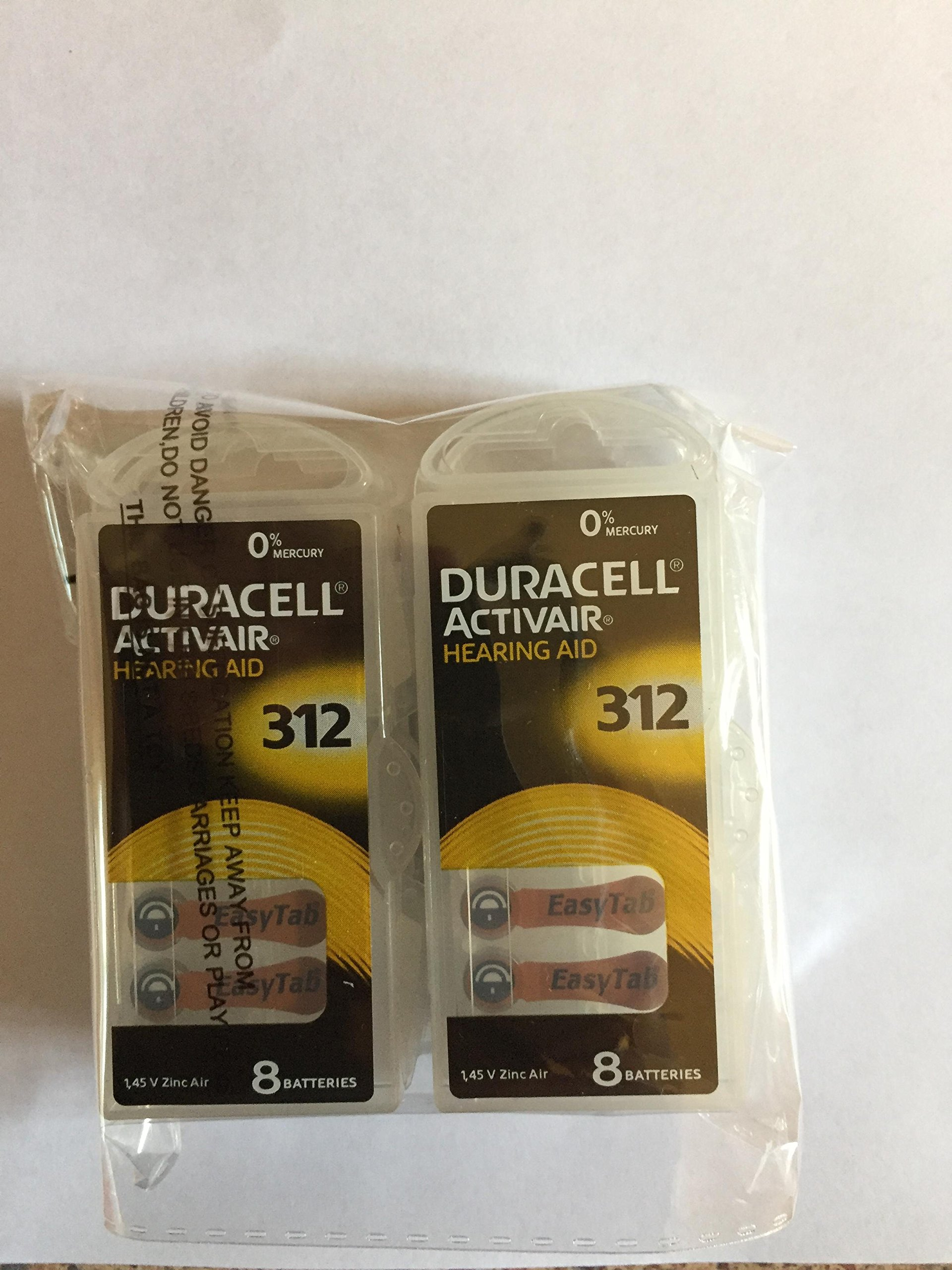 48 X Size 312 Duracell Activair (Da312) Easy Tab Hearing Aid Batteries
