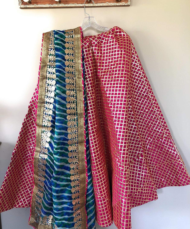 fits upto waist 38 inches//Free Shipping Brocade lehenga skirt with Bandhani Dupatta//One Size