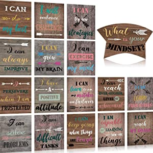 17 Pieces Growth Mindset Poster Set Bulletin Board Display Decoration Positive Mindfulness Poster Inspirational Classroom Poster Pack with Glue for Elementary and Middle School Wall (Retro Style)