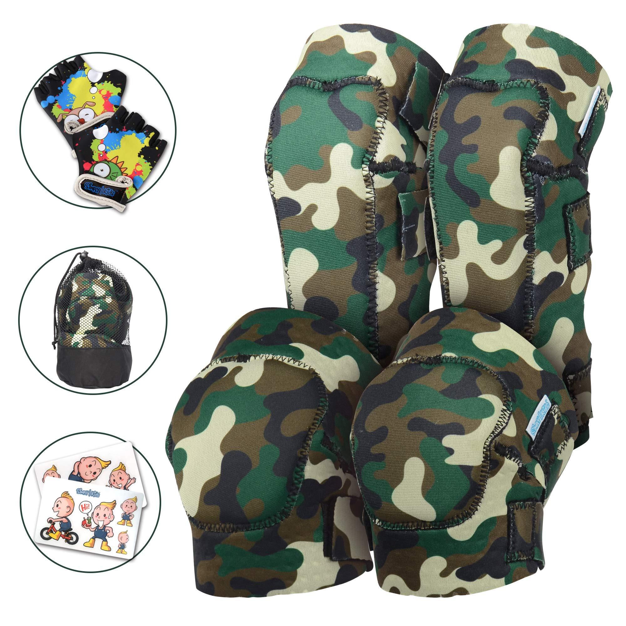 Innovative Soft Kids Knee and Elbow Pads with Bike Gloves | Toddler Protective Gear Set w/Mesh Bag | Roller-Skating, Skateboard, Bike Children Boys Girls ((2nd Gen) Forest Camo, Medium (4-8 Years))