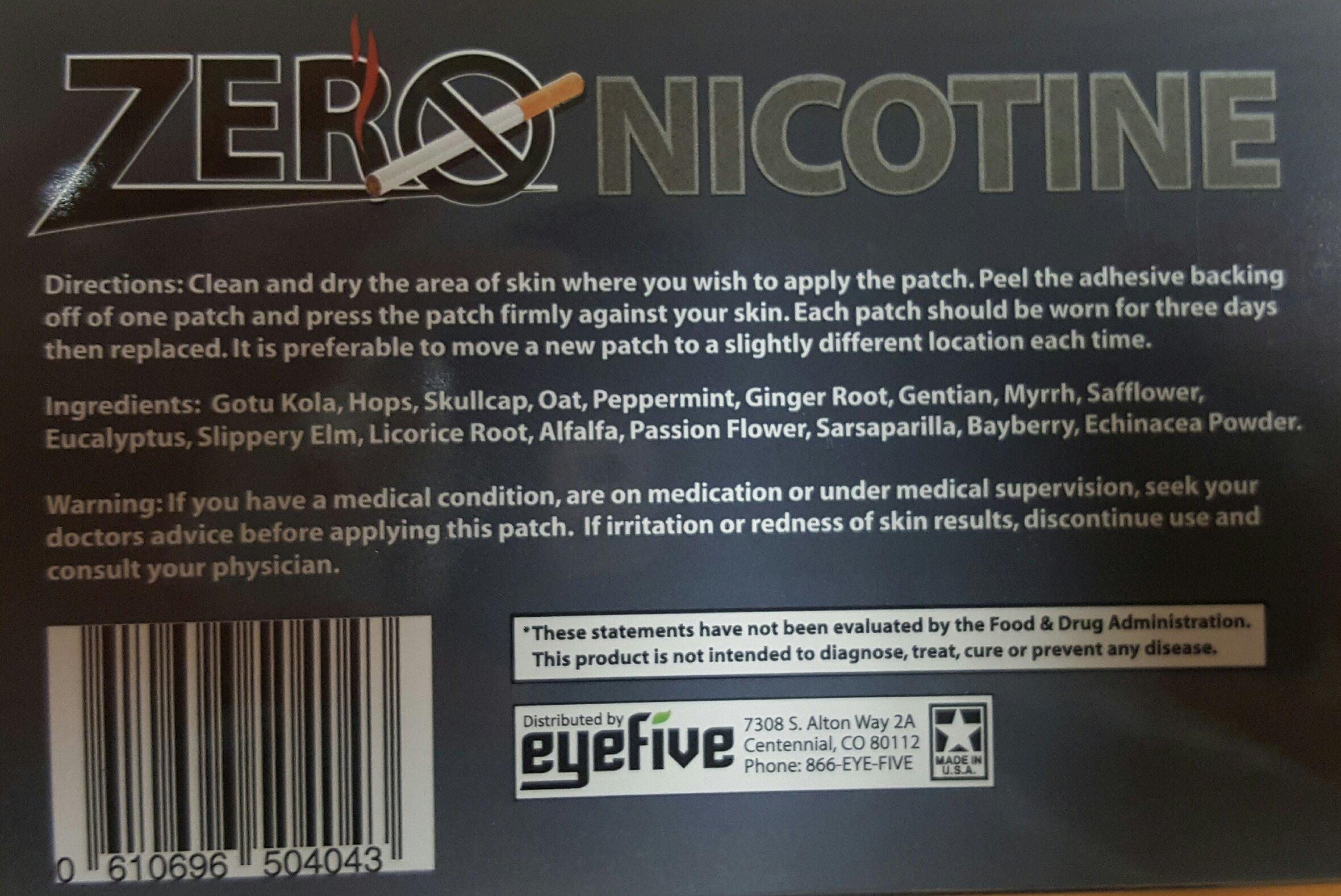 Zero Nicotine Patches - Kick the Nicotine Habit Naturally, 10 patches,(EyeFive)
