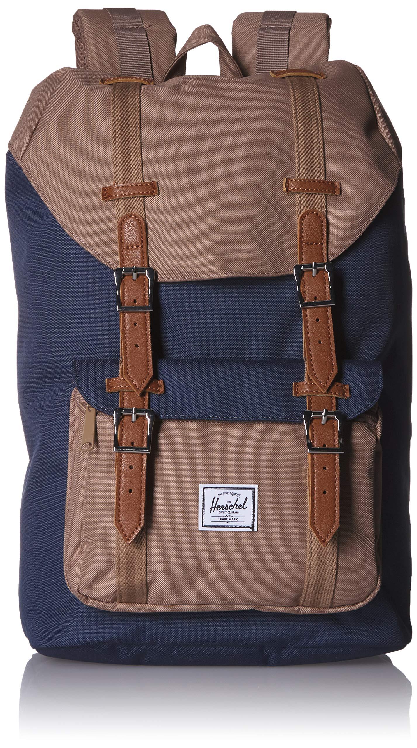 Herschel Supply Co. Little America Flapover Backpack, Navy/pine bark/Tan, Mid-Volume 17L by Herschel