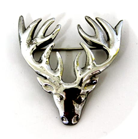 Small Polished Pewter Scottish Stag Head Plaid Sash Brooch - Made in Scotland jsCEgorTmX