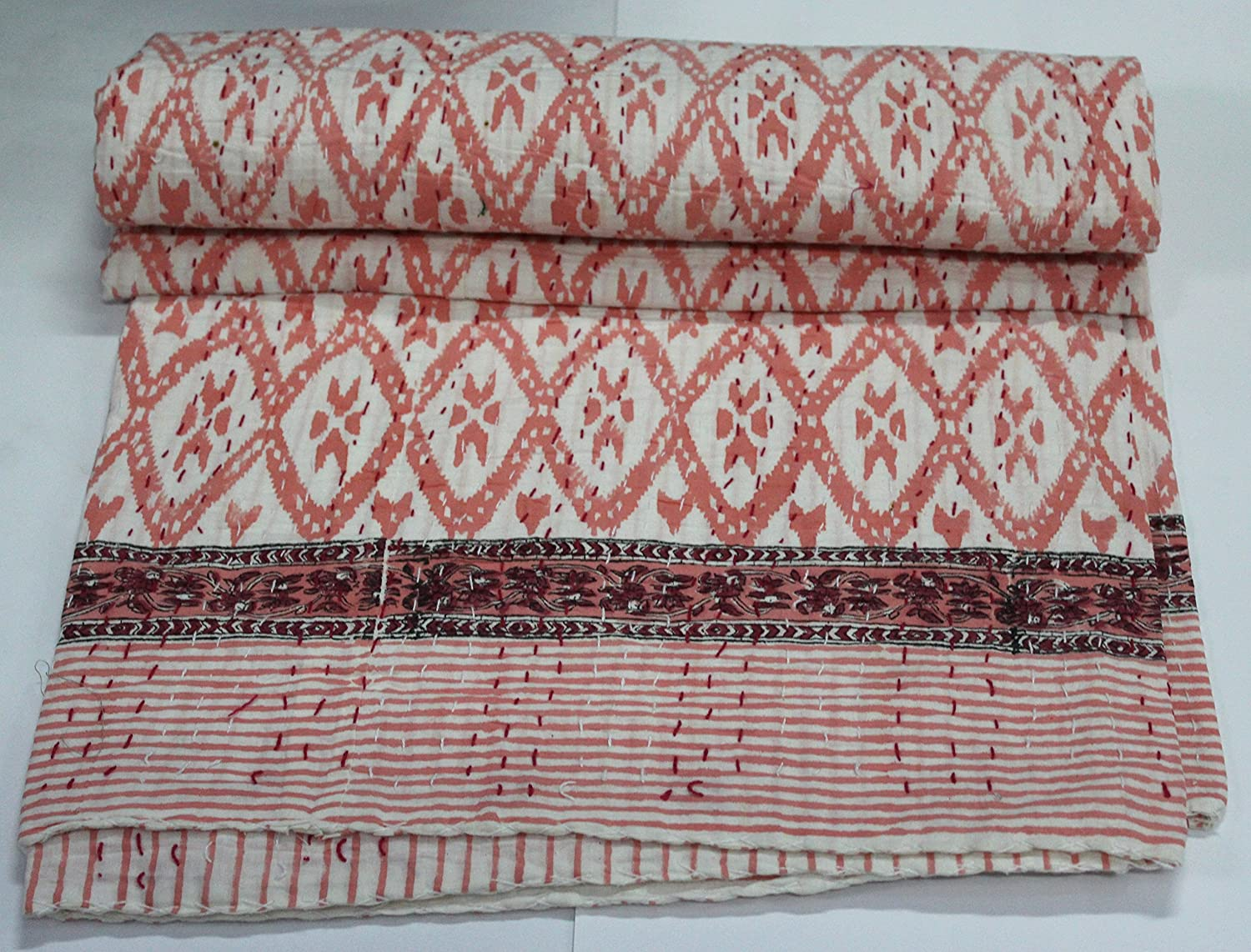 Handicraftofpinkcity Ikat Print Kantha Quilt Throw Reversible Cotton Bedspread Vintage Bedding Gudri Indian Block Print Kantha Quilt