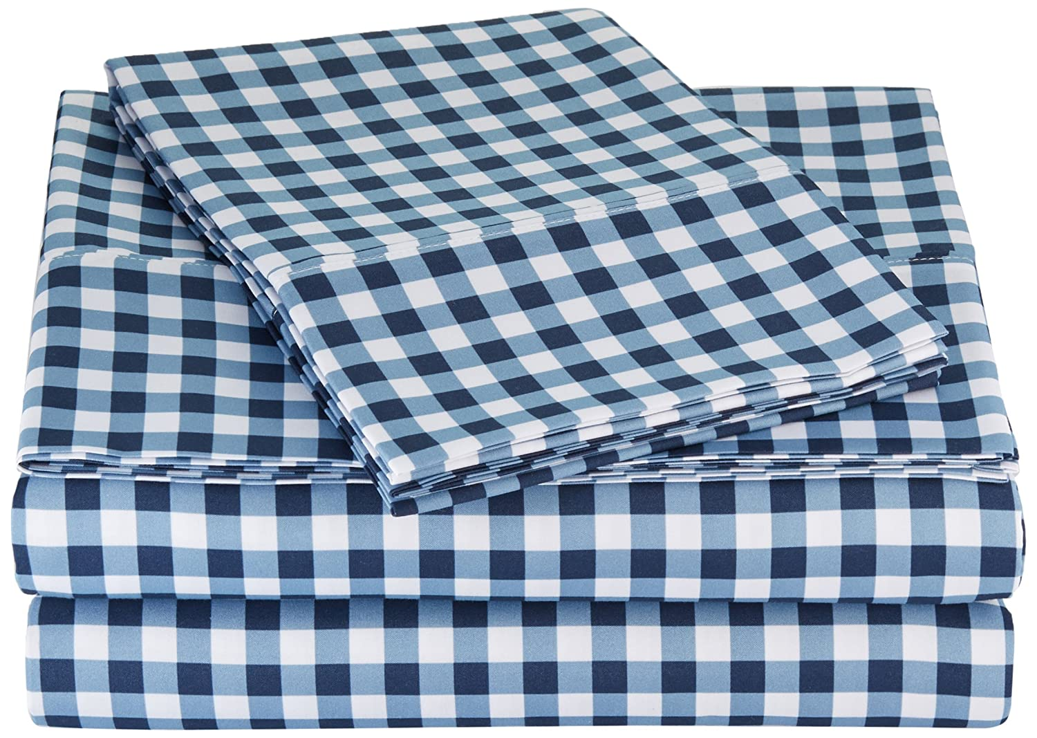 AmazonBasics Microfiber Sheet Set - Full, Gingham Plaid