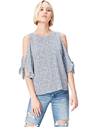 9949bba4afcb9 FIND Women s Ditsy Cold Shoulder Top  Amazon.co.uk  Clothing