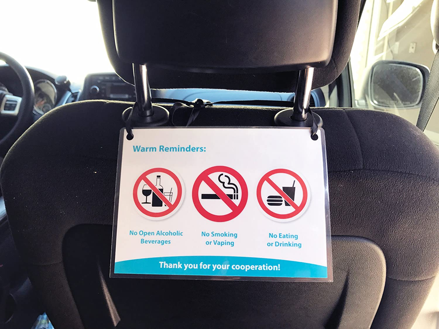 Car Seat Head Rest Covers 2 Pack No Smoking No Drinking White Design Taxi Van