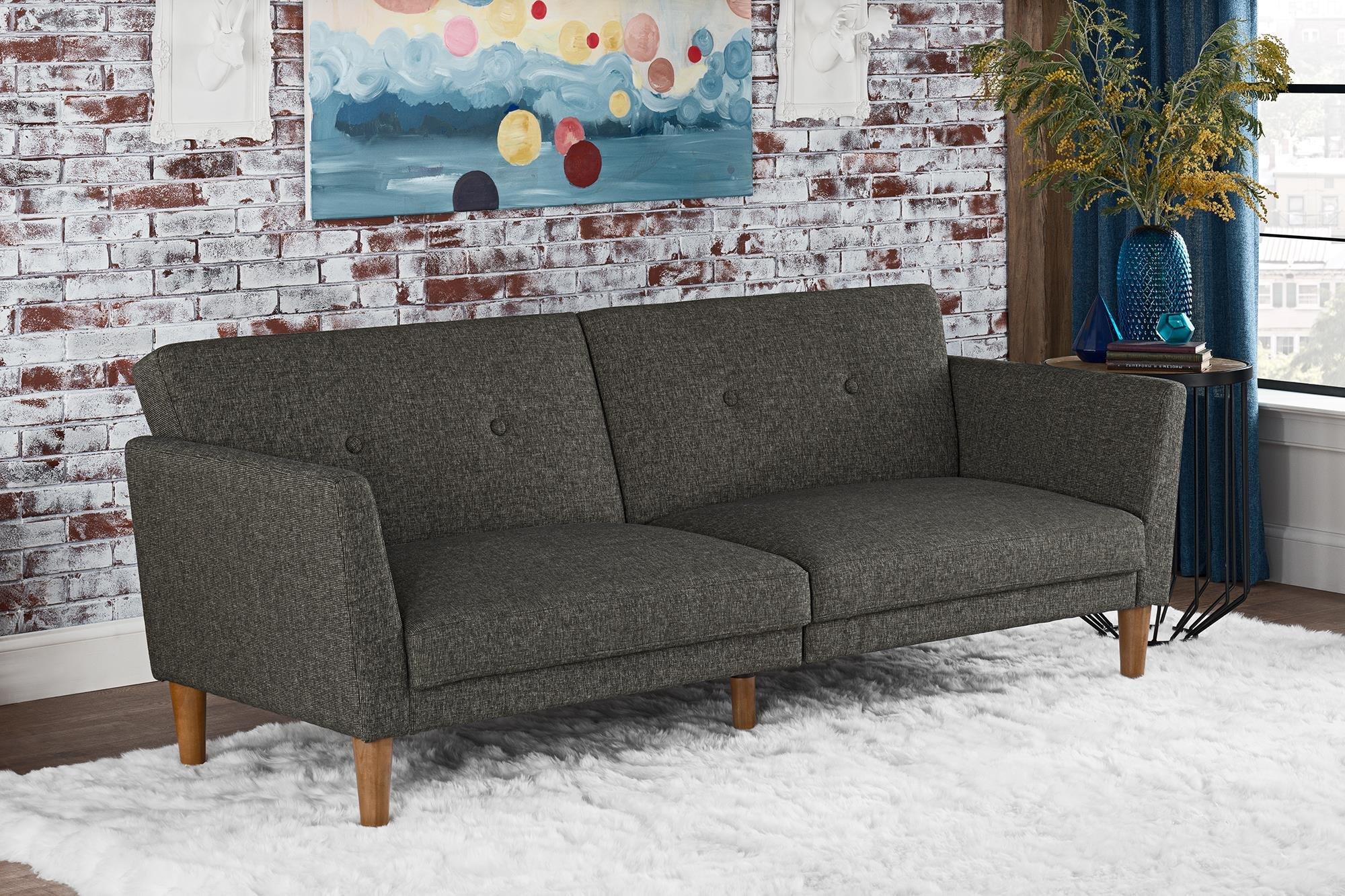 Novogratz Regal Futon with Tufted Linen Upholstery, Grey by Novogratz