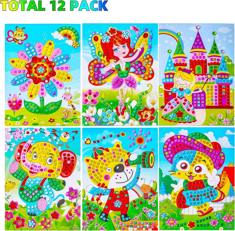 Amazon Com Sinceroduct Mosaic Stickers Art Kits For Kids 12 Pack Diy Handmade Art Crafts For Kids Shine Sparkle Mosaics Elephant Flower Cat Dinosaur Car Castle Etc Toys Games