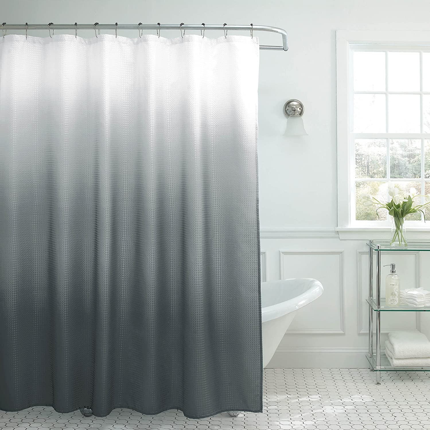 Amazon.com: Creative Home Ideas Ombre Textured Shower Curtain With Beaded Rings, Dark Grey: Home & Kitchen