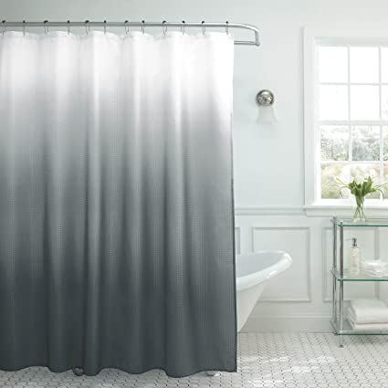 Amazon Natural Home Ombre Textured Shower Curtain With Beaded