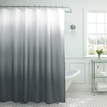 Merveilleux Creative Home Ideas Ombre Textured Shower Curtain With Beaded Rings, Dark  Grey