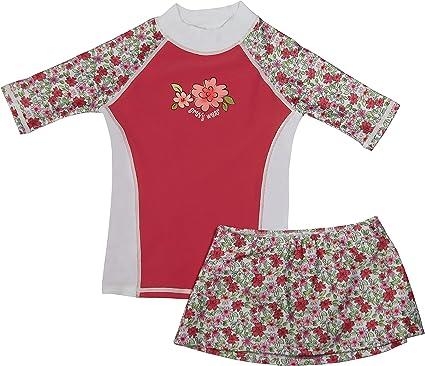 grUVywear UV Sun Protective UPF 50 Girls Long Sleeve Rash Guard and Shorts Set