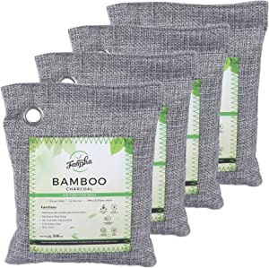 Famsha 4-pack (200 gm each) Activated Bamboo Charcoal Air Purifier Bags, Natural and Fresh air for your home and car