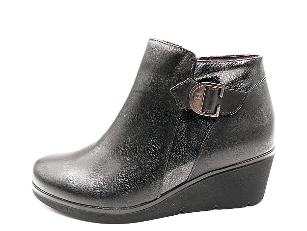 Botines Mujer Pitillos en Piel Color Negro Combi Plomo con Hebilla, cuña 5cm - 5239-575: Amazon.es: Zapatos y complementos