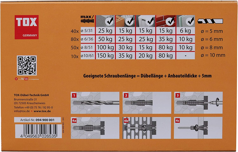 mit Tri /Ø 5 mm Sortiment Haushaltspackung 8 mm TOX Allzweckd/übel 6 mm 180 tlg 10 mm 094900001
