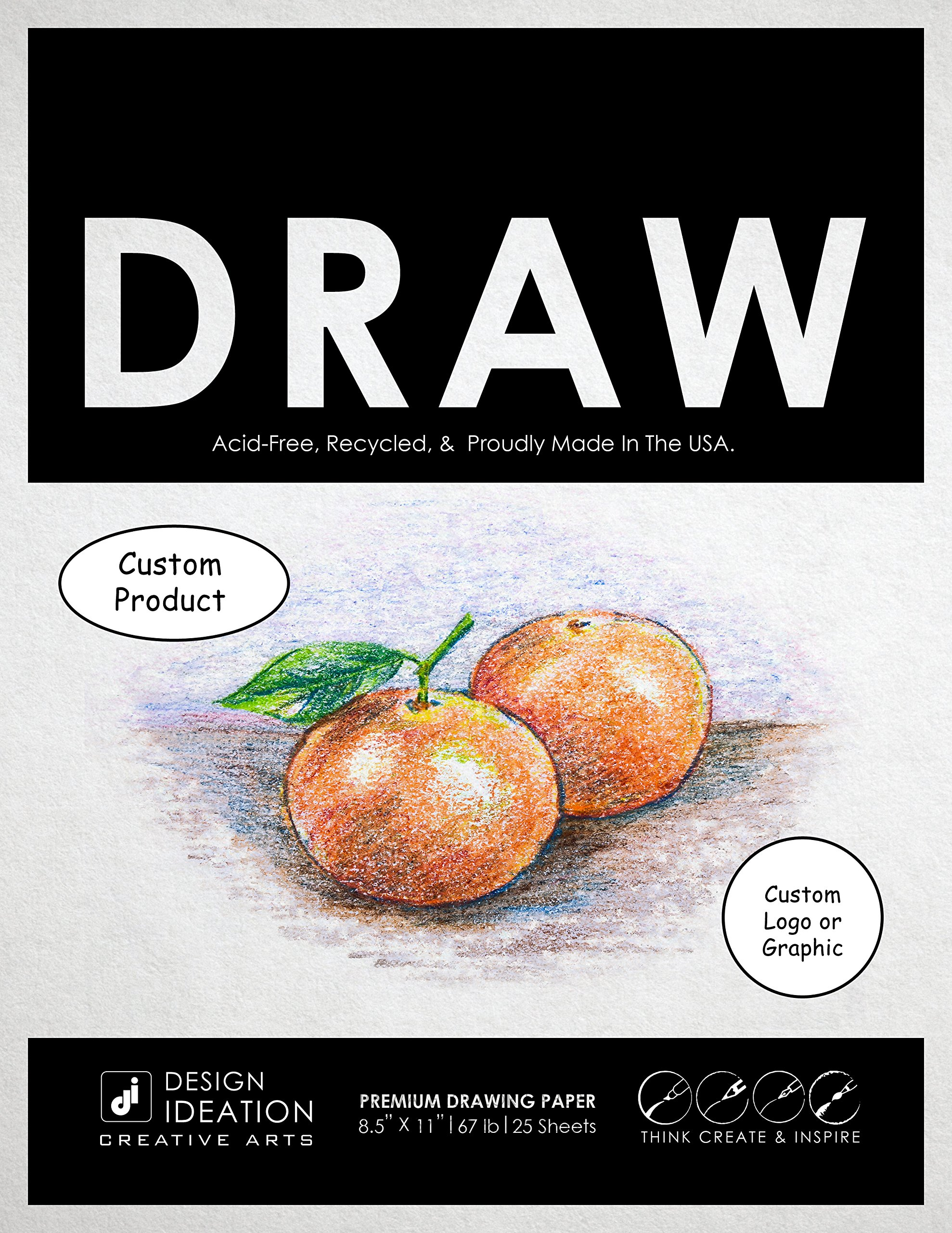 CUSTOM: Premium Paper Drawing Pad for Pencil, Ink, and Marker. Great for Art, Design and Education. (Jumbo 8.5'' x 11'')(10 Custom Pads)