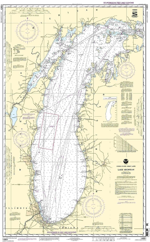 Amazoncom Lake Michigan Mercator Projection Fishing - Lake michigan us map