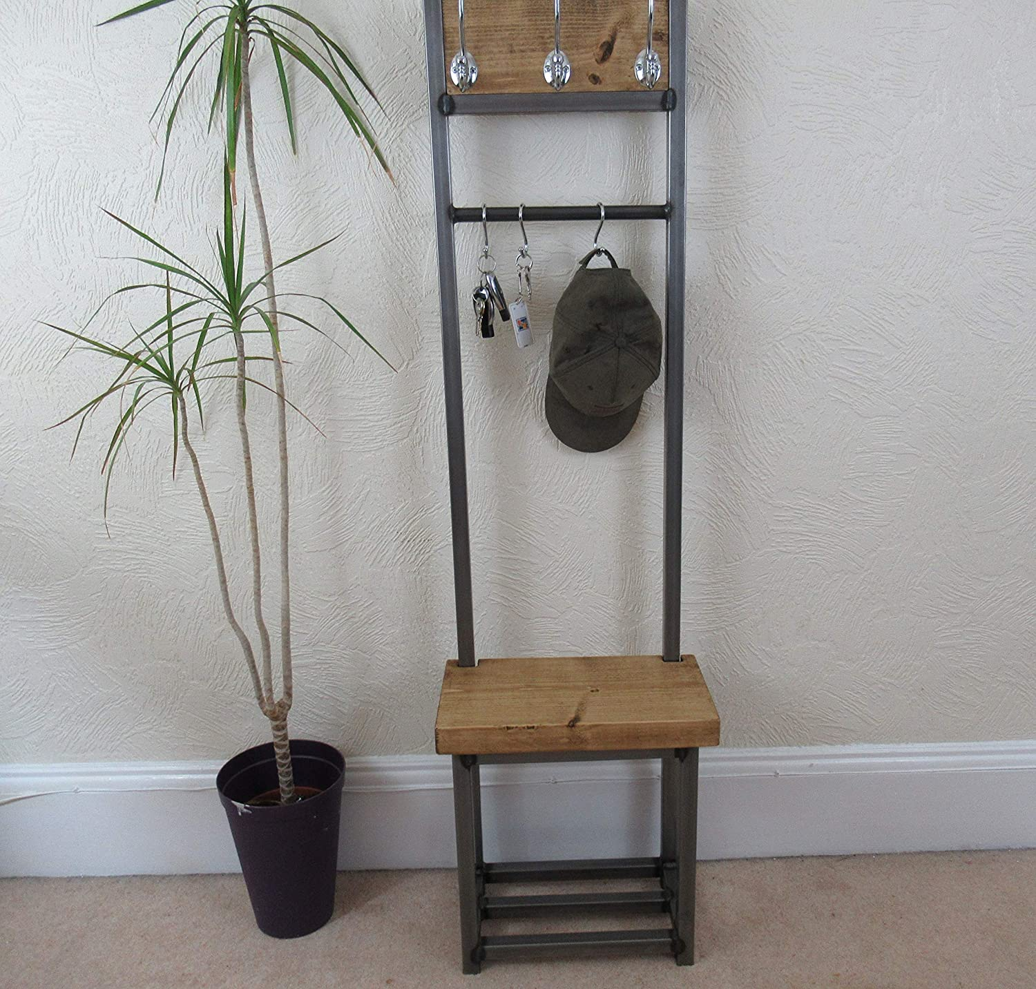 Coat And Shoe Storage.Coat Stand With Seat Shoe Rack Narrow Hallway Coat Rack