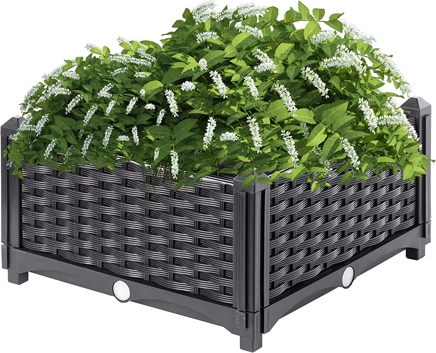 Gardenised QI003892.NL Raised Garden Screwless Planter Bed, Charcoal