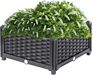 Gardenised QI003892.NL Raised Garden Screwless Planter Bed, Charcoal
