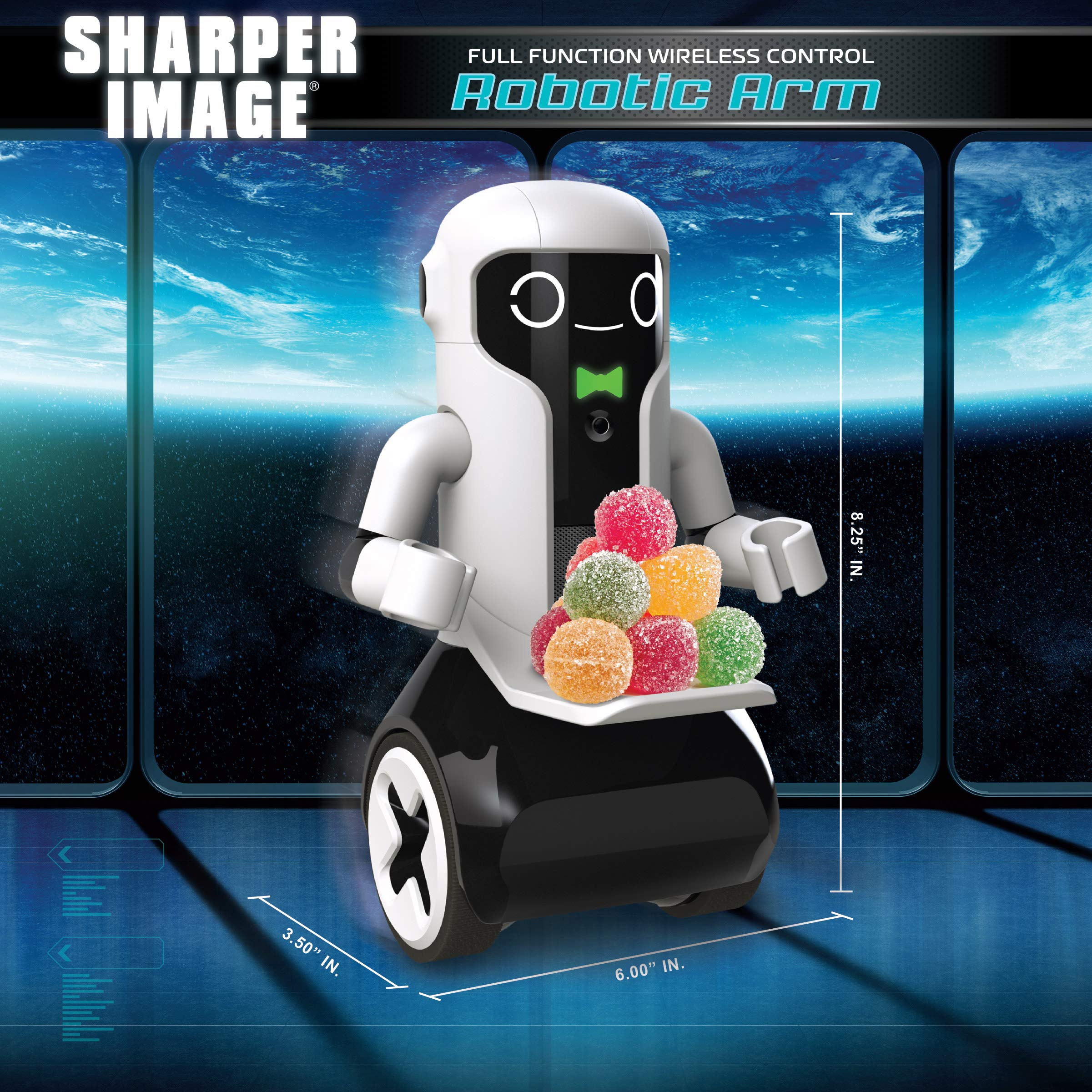 Sharper Image Maximilian The RC Butler Bot, Interactive Remote Control Robot with Speech, Singing, Audio Recording, Motion Detection, Color-Coded Emotional Responses by Sharper Image (Image #4)