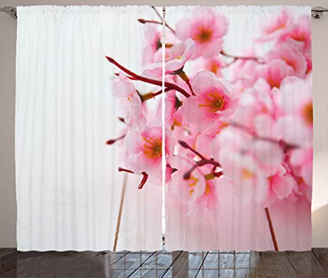 Amazon.com: Floral Curtains by Ambesonne, Cherry Blossom Petals ...