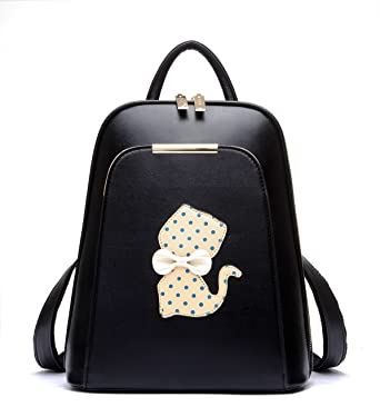Amazon.com | Pu Leather Black Backpack Purse for Girls Top Handle ...