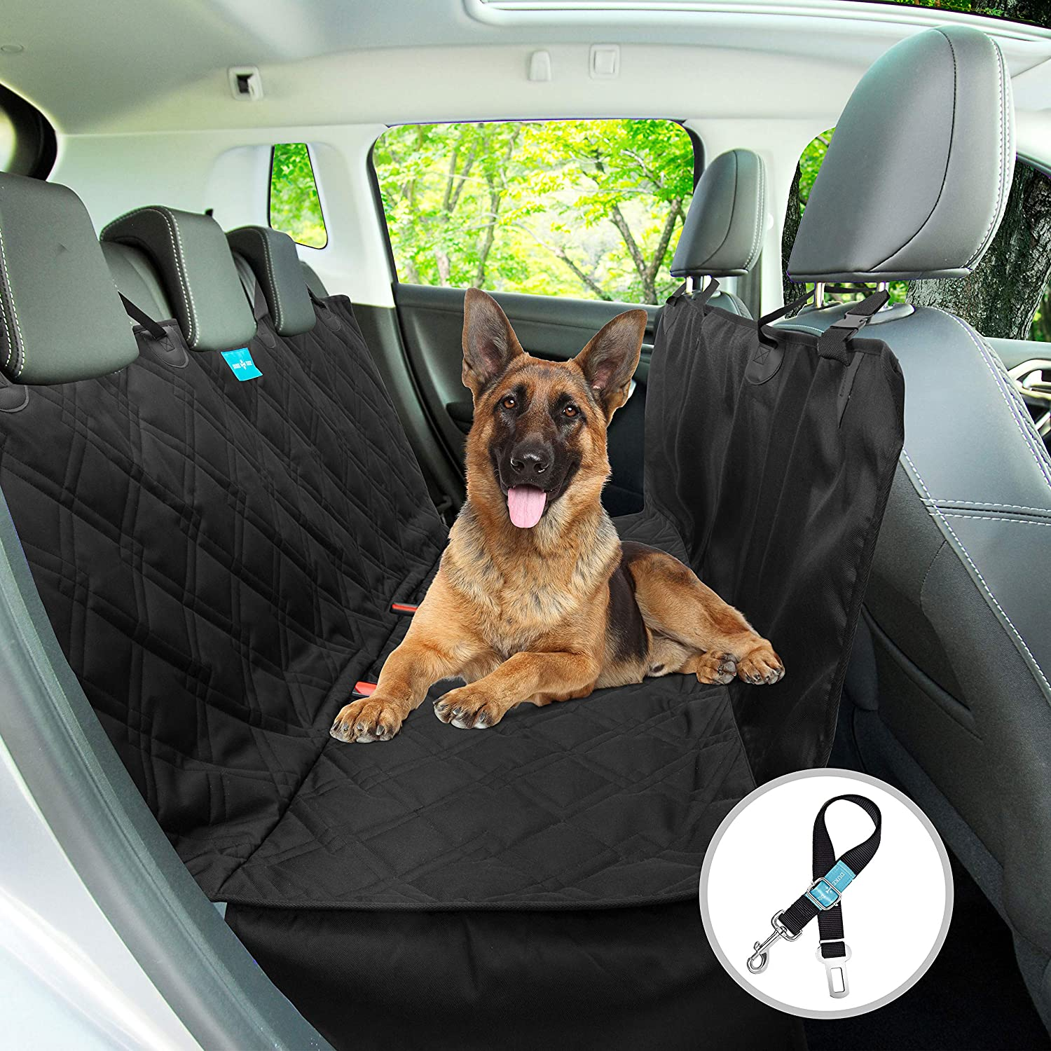 Hammock Dog Backseat Hammock Seat Cover Style 2 in 1, Durable, Wateproof, Non Slip Rubber Backing with Anchors Washable for Trucks Cars suv's