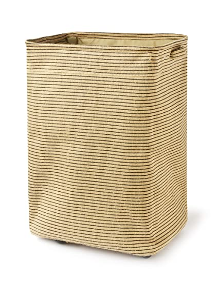 Rolling Laundry Hamper  Natural Jute Fabric Hamper With Handles  Large  Collapsible Laundry Basket Dirty