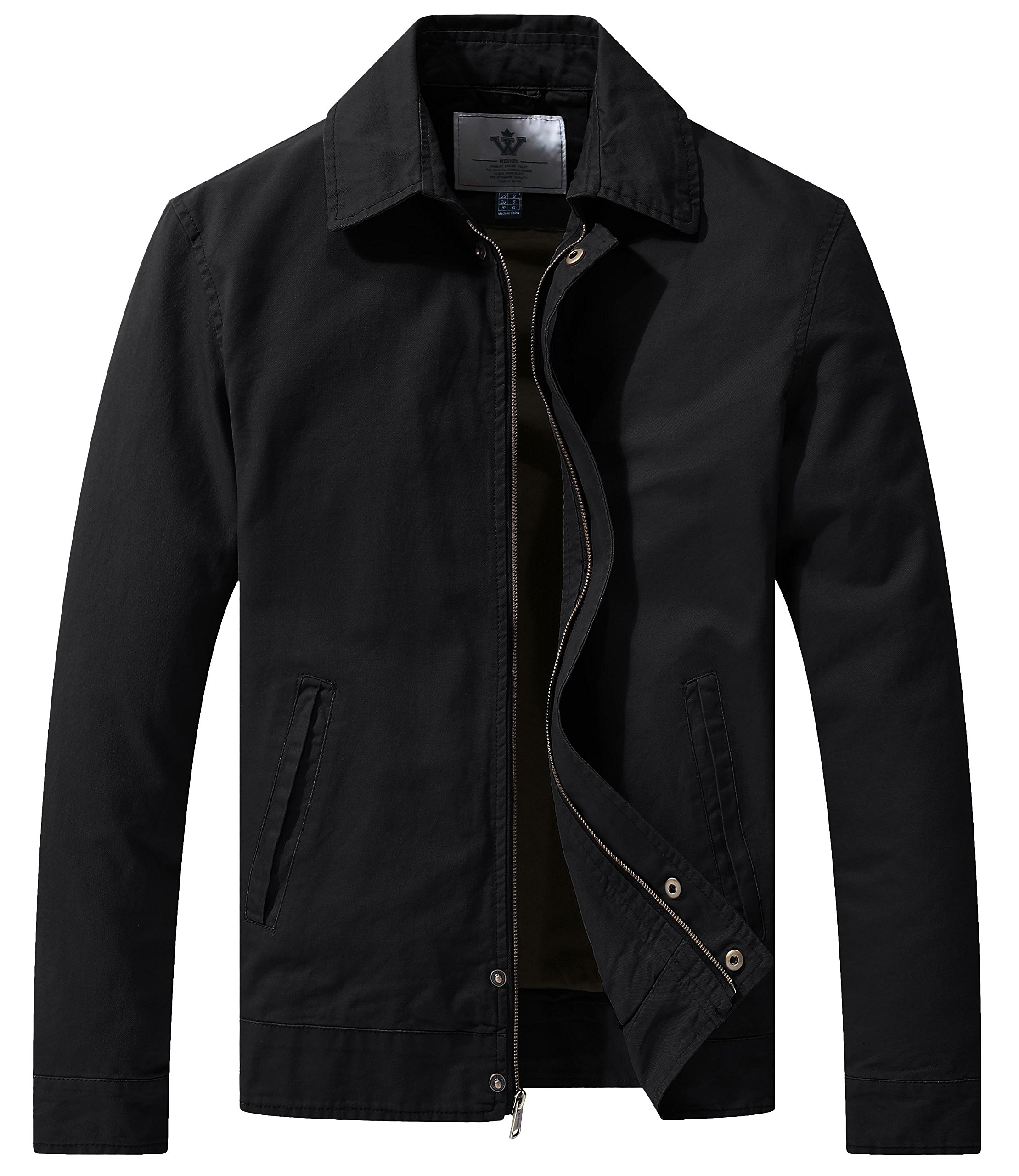 WenVen Men's Casual Long Sleeve Full Zip Jacket with Pockets(Black,Large) by WenVen
