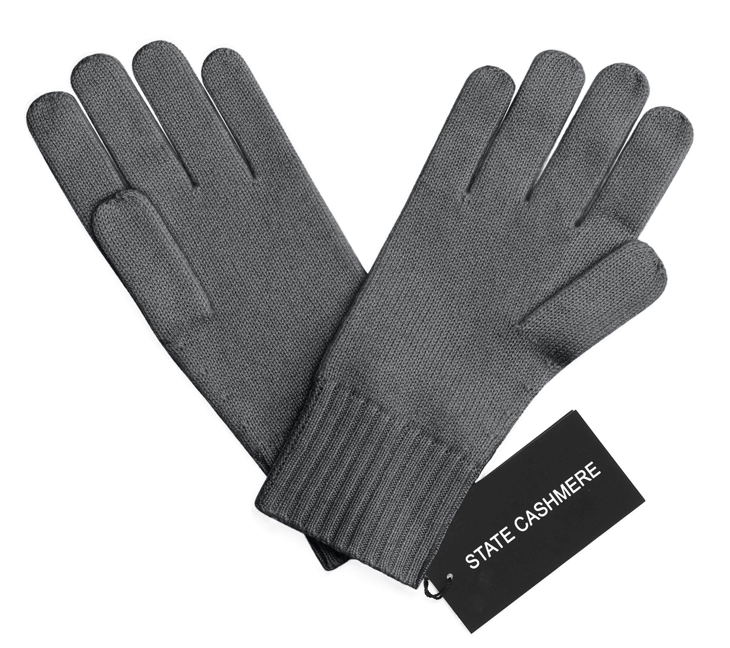 State Cashmere 100% Pure Cashmere Gloves, Cable Knit Design - Ultimate Soft and Warm (Charcoal)