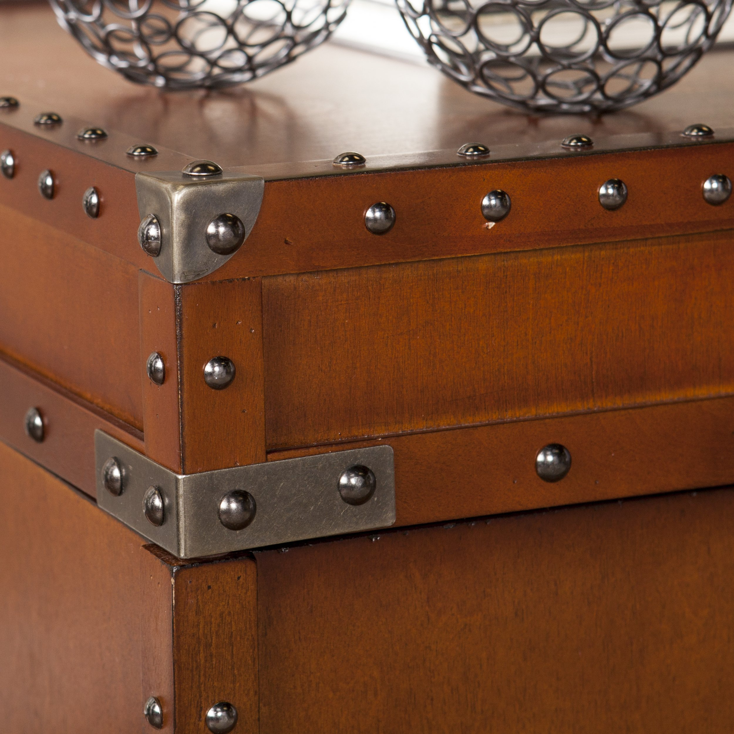 Southern Enterprises Steamer Trunk End Table - Rustic Nailhead Trim - Refinded Industrial Style by Southern Enterprises (Image #3)