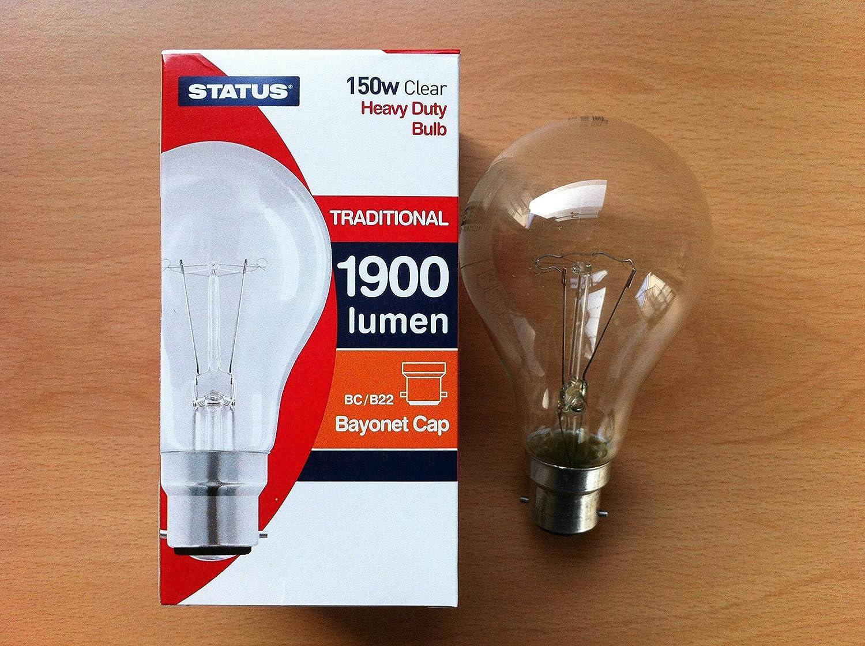 150w Watt BC B22 Bayonet Cap Push In Clear Incandescent Light Bulb Lamp Bulbs x 10