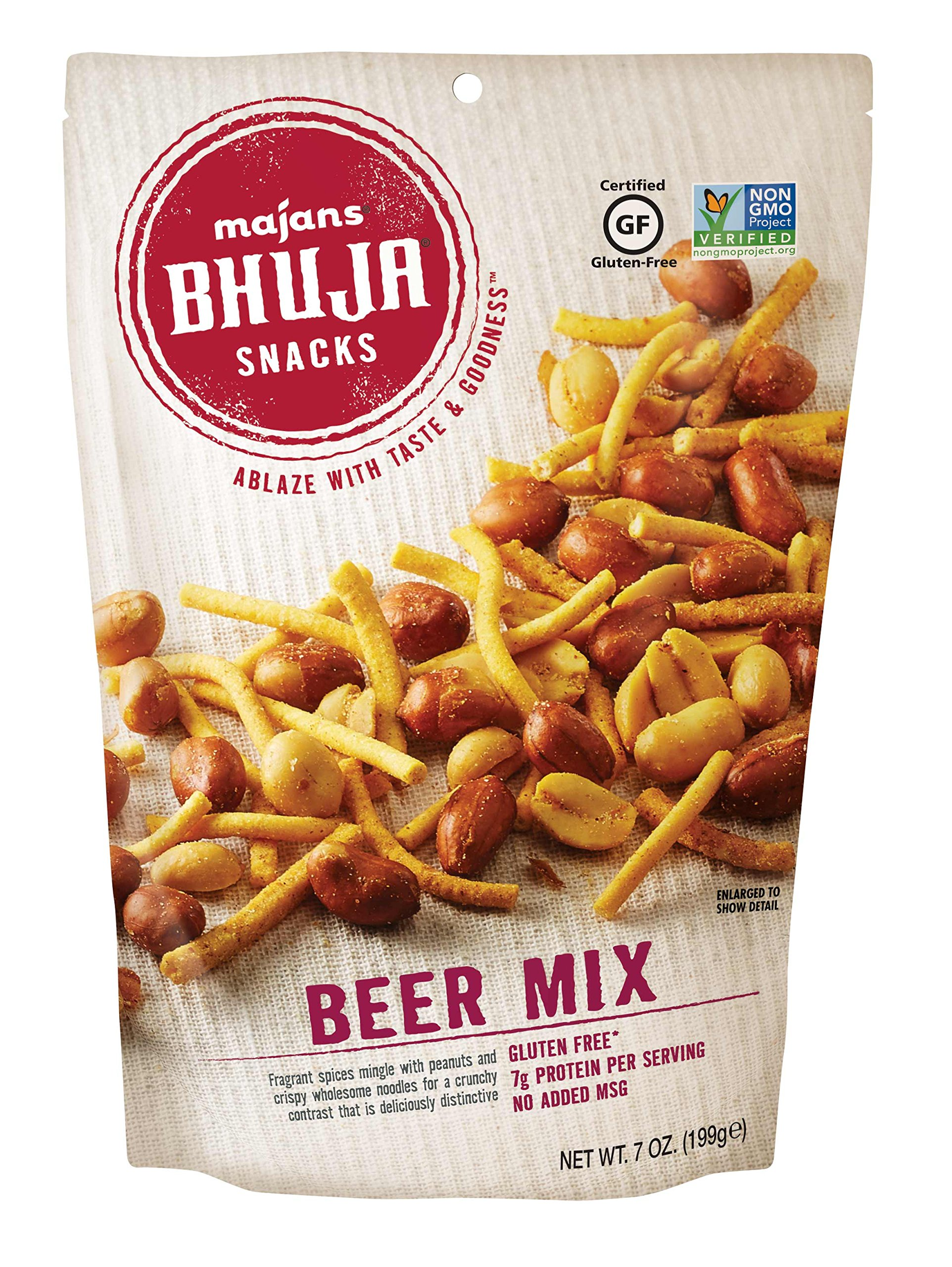Majans Bhuja Gluten Free Snack Mix, Non-GMO | No Preservatives | Vegetarian Friendly | No Artificial Colors or Flavors, Beer Mix, 7 Ounce (Pack of 6) by BHUJA