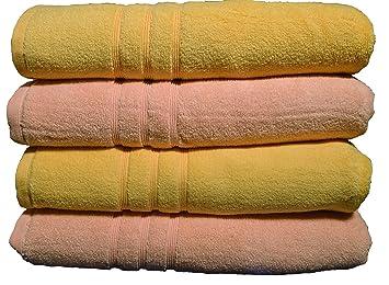 orpheebs 4 toallas de baño de 600 gr/m², 70 x 140 cm 100% algodón Egyptien en algodón peinado ultra suave y Moelleuse, amarillo y albaricoque: Amazon.es: ...