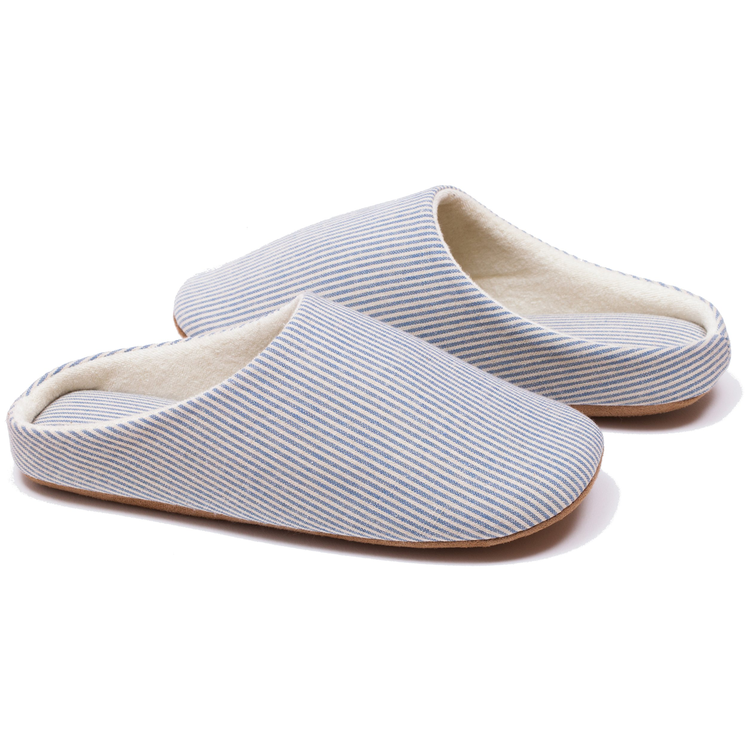 RelaxedFoot Slippers | Organic Cotton & Memory Foam | 1 Pair with Storage Bag (Medium, Blue)