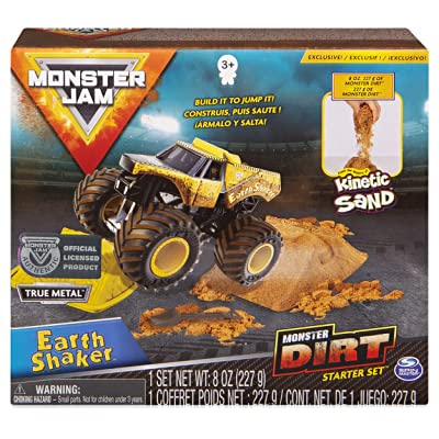 Monster Jam, Earth Shaker Monster Dirt Starter Set, Featuring 8oz of Monster Dirt and Official 1:64 Scale Die-Cast Monster Jam Truck: Toys & Games