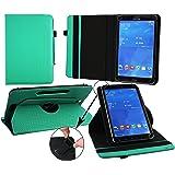 Emartbuy Medion LifeTab P9701 9.7 Zoll Tablet PC Universal ( 9 - 10 Zoll ) Emerald Grün 360GradRotierendeStandFolioGeldbörseTascheHülle + Türkis Eingabestift
