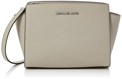 1a506f704bfb Michael Kors Womens Selma Medium Saffiano Leather Messenger Bag Grey  (Cement)