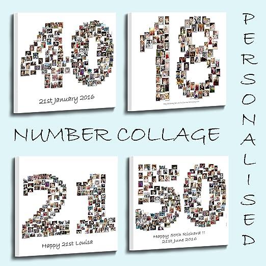 Personalised Photo Collage caja en forma de número Framed Canvas ...