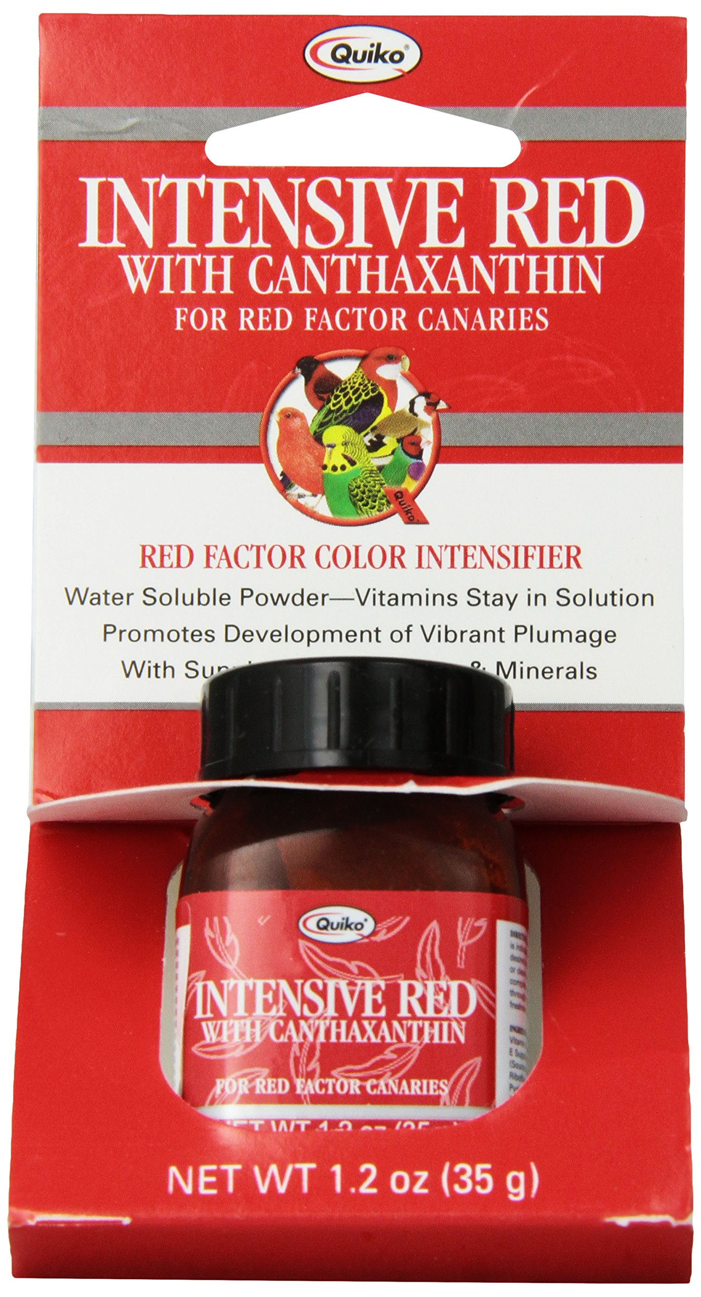 Quiko Intensive Red with Canthaxanthin for Red-Factor Canaries, Vitamin & Mineral Supplement, Red-Factor Color Intensifier, 1.2 Ounce by Quiko