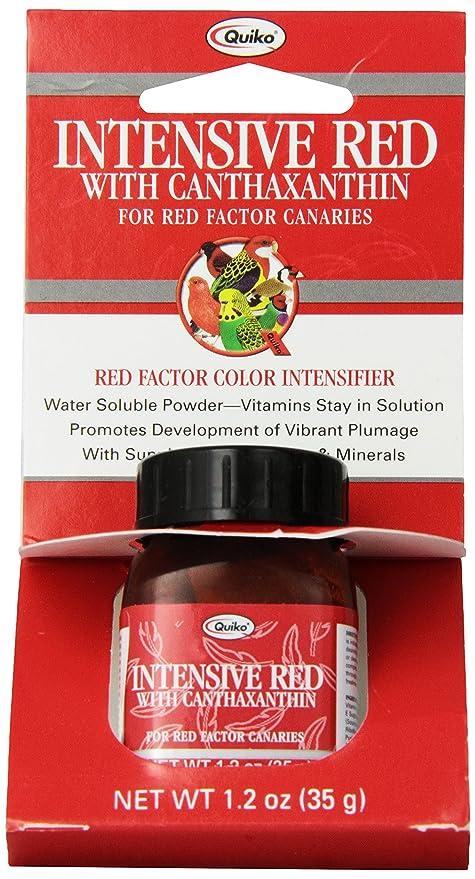 Quiko Intensive Rojo con cantaxantina para Red-Factor Canarias, Vitamina & Mineral Suplemento,