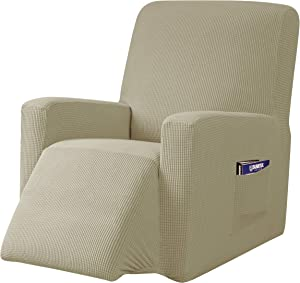 subrtex Recliner Chair Slipcover Stretch Lazy Boy Covers for Leather Furniture Protector Rocker Sofa Cover with Side Pocket (Recliner, Sand)