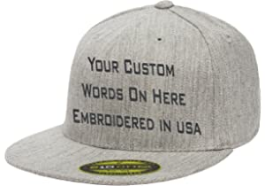 3c328843 Custom Flexfit 210. Personalized Hat. Embroidered. Your Text.Fitted Flat  Bill