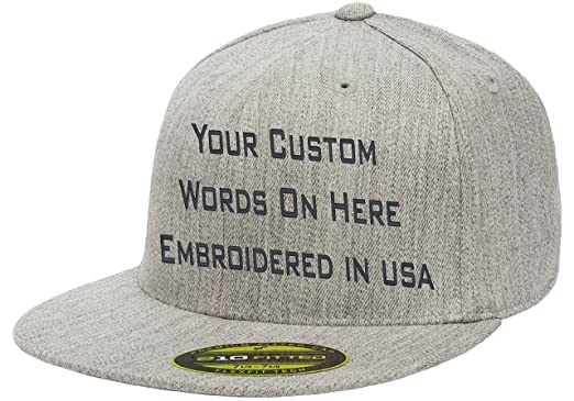 aa96a40fa360f Custom Flexfit 210. Personalized Hat. Embroidered. Your Text.Fitted Flat  Bill (