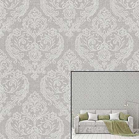 Crown Calico Damask Soft Grey Wallpaper M1309