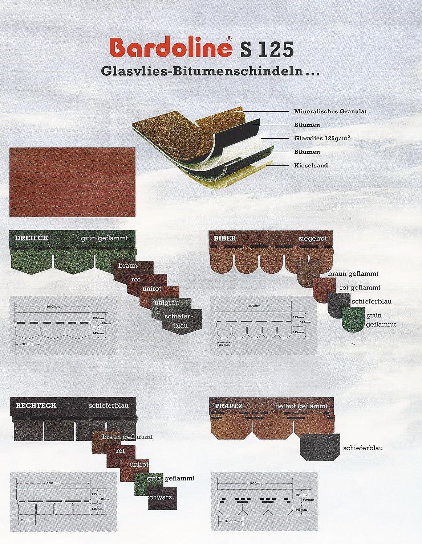 Paket a 3,05 m/² Paketpreis Euro 39,00 Bardoline PRO Bitumenschindeln ONDULINE Rechteck braun geflammt